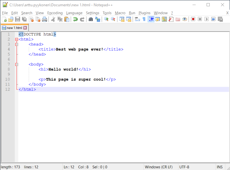 First HTML file