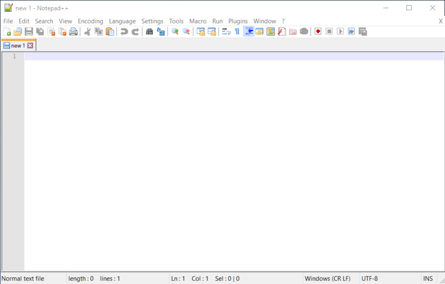 View of new notepad++ file